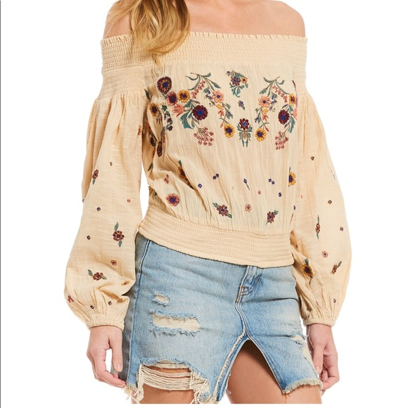 89c4b713aa0ca Free People saachi Embroidered off Shoulder Top